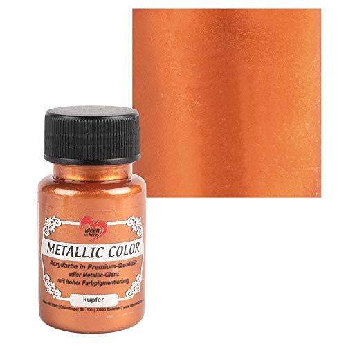 Ideen mit Herz Metallic Color | Metallic-Farbe | hochwertige Acrylfarbe in Premium-Qualität mit edlem Metallic-Glanz & hoher Farbpigmentierung | 50 ml (kupfer)