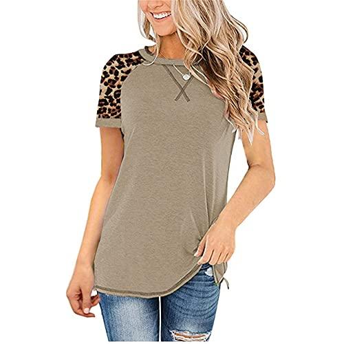 Camisa Mujer Cómodo Cuello Redondo Empalme De Leopardo Cuello Cruzado Mujer Blusa Generoso Casual De Moda Clásico Retro Personalidad Elasticidad Simplicidad Verano Mujer Top B-Khaki 4XL