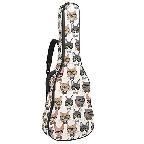 Bolsa de guitarra acústica con múltiples bolsillos acolchado grueso impermeable para guitarra, bolsa de conciertos con gafas de 42 x 42,8 x 11,9 cm