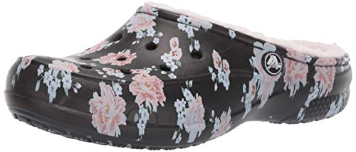 Crocs Women's Freesail Printed Floral Lined Clog Shoe, Floral/Black, 10 M US