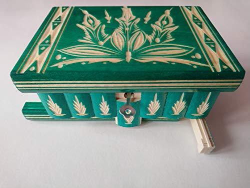 Caja puzzle joyero mágica tesoro verde misterio de almacenamiento secreto compartimiento de caja de madera decoración para el hogar