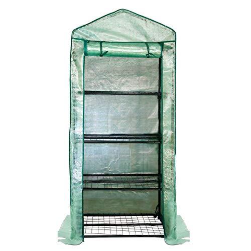 VINGO Gewächshaus, Foliengewächshaus Klein 70x50x160cm, 4 Etagen Foliengewächshaus für Balkon Treibhaus Tomatenhaus mit PE-Gitterfolie, grün