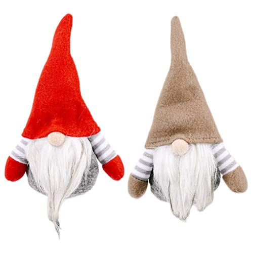Fugift 2pcs Christmas Swedish Gnome Santa Stripe Doll Ornaments Hanging Xmas Tree Holiday Home Party Decoration Kids Gift