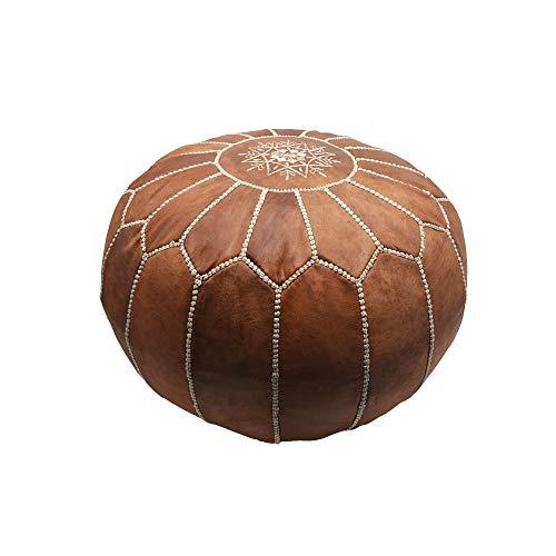 Pouf puf y reposapies de Piel Natural Relleno Hecho a Mano en Marruecos. Color marrón 55 * 35 cm