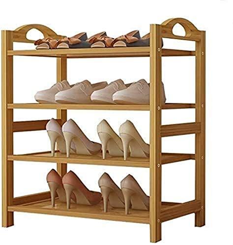 Estante de zapatos Zapatero Zapatos simple práctica almacenamiento familiar en el zapatero vertical en rack de 4 capas de metal ajustable simple caja de almacenaje de los zapatos Family Practice de al