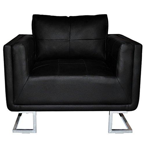 Festnight Sillón de Cuero de Cubo Lujoso Patas Cromadas Color Negro 85,5 x 63 x 74 cm