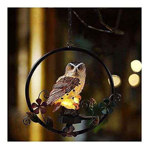 JJH Animales Lindos Que cuelgan Luces de jardín con energía Solar, LED Luz Blanca Caliente, al Aire Libre Impermeable iluminación Nocturna Decorativa (4 diseños) (Color : Brown Owl)