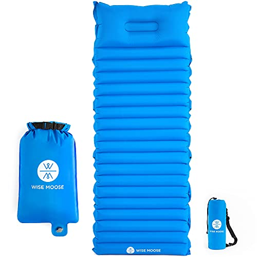 WISE MOOSE Sleeping Pad – 4.5 Inch Thick Camping Mattress, Ultralight Camping Pad, Inflatable Tent Mat for Backpacking, Hiking – Inflating Bag and Repair Kit Included