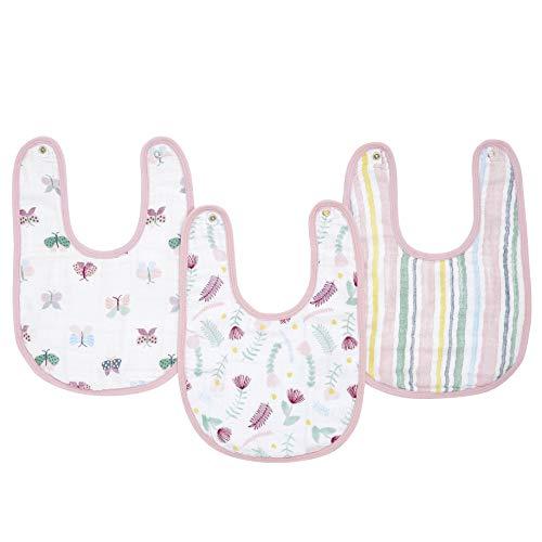 aden + anais essentials - Pack de 3 bavoirs à boutons-pression pour bébé prélavés en mousseline 100% coton - Bavoir absorbant - Ajustable - Garçon - Fille - Imprimé Floral Fauna - 23 cm x 34 cm
