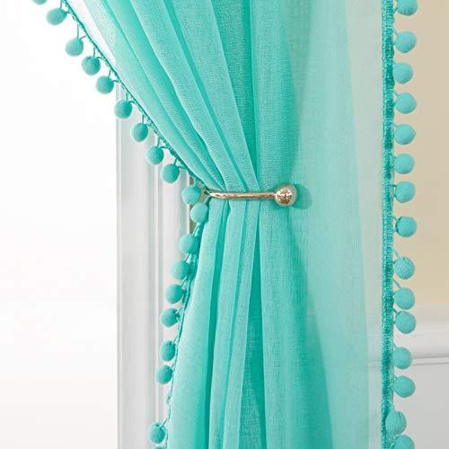 MIULEE 2er Set Voile Vorhang mit Pompons Gardine aus Voile Polyester Stangedurchzug Transparent Wohnzimmer Luftig Dekoschal für Schlafzimmer 245 x 140cm (H x B), Rod Pocket Türkis