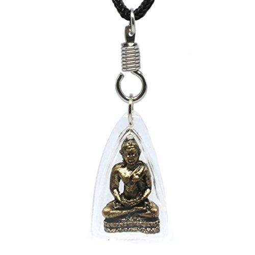 Origin Siam Thai Buddha Amulett Anhänger Messing eingefasst Meditation Glück Liebe Sicherheit Friedenskarma Geschenk - goldfarben antik-Optik