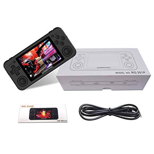 RG351P Consola de Juegos portátil,Sistema Linux de código Abierto Soporte Tarjeta de Red Externa WiFi, Consola de Juegos portátil Pantalla IPS de 3,5 Pulgadas Doble balancín 3D
