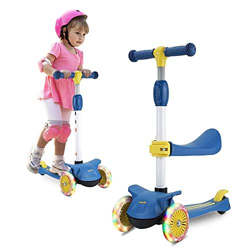 Wheelive 3-en-1 Kick Scooter con Asiento extraíble, 3 LED Ruedas para niños, 4 Altura Ajustable y diseño Plegable Patinetes para niños pequeños Sit o Stand Ride para niños y niñas de 2 a 6 años