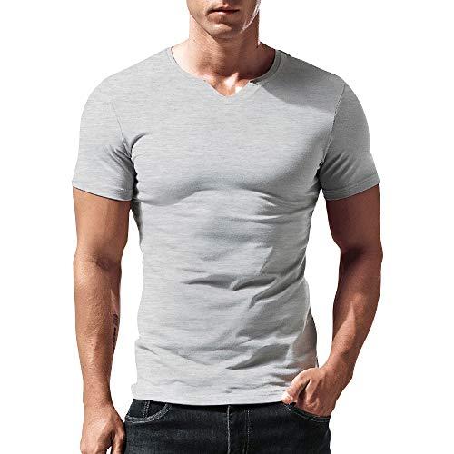 Hombres Ajustado Manga Short Henley Camiseta Casual Cuello Pico Camisetas Algodón T2307...