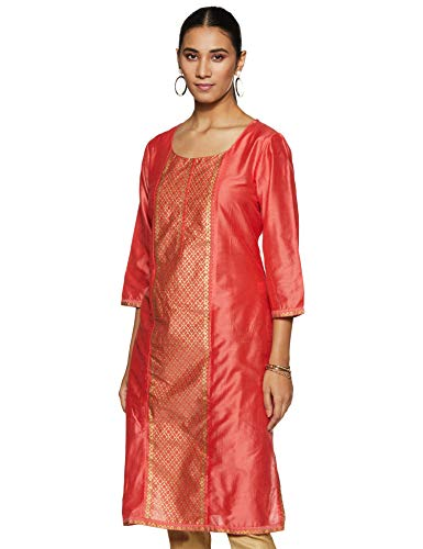 Indigo Women's synthetic Straight Kurta (AW19/IND-1249_ Peach_ Medium)