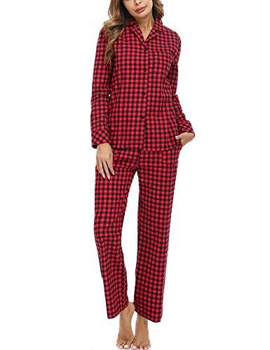 iClosam Pijama Mujer Invierno Dos Piezas,Cuadros Pijama Camiseta y Pantalones Largos Pijamas Casual Ropa de Casa Dormir Cálido y Comodo S-XXL