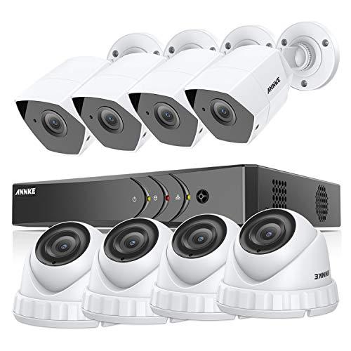 ANNKE Kit Sorveglianza 3MP DVR TVI 8 Canali 8 Metal Telecamera Esterno Manuale Italiano Visione Notturna 100ft Motion Detection H.265+ Extra 1 IP Camera senza HDD