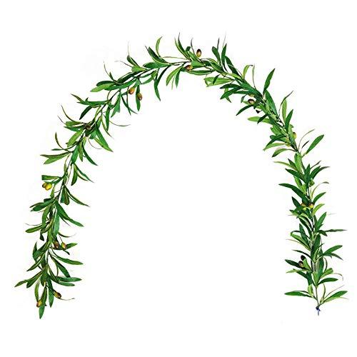 SUREN Künstliche Olivenblätter-Girlande, 1,8 m, Seidenpflanze, Dekoration für Zuhause, Garten, Büro, Hochzeit, Grünpflanzen
