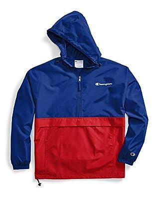 Champion Men's Colorblocked Packable Jacket, SURF The Web/Scarlet, Large