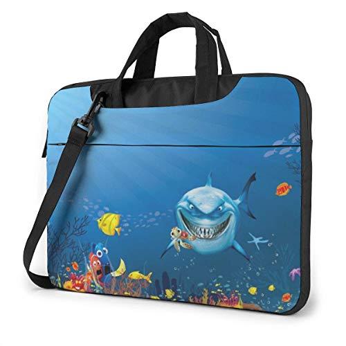 Hdadwy 15.6 inch Laptop Shoulder Bag Smiling Shark Printed Shockproof Waterproof Laptop Shoulder Backpack Bag Briefcase