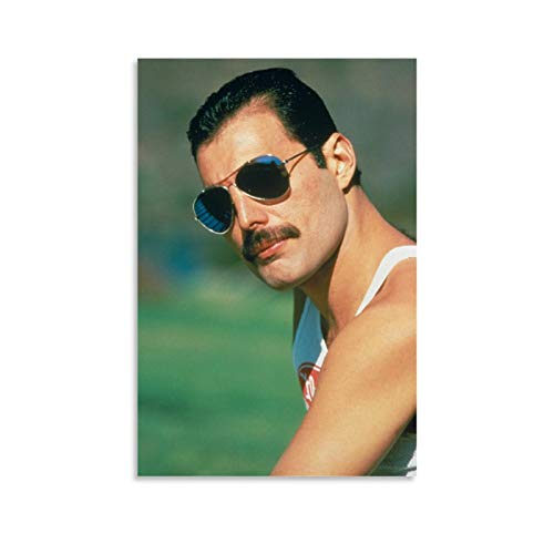 SDFGSD Póster de música Queen Freddie Mercury con gafas de sol, lienzo decorativo para pared, para sala de estar, dormitorio