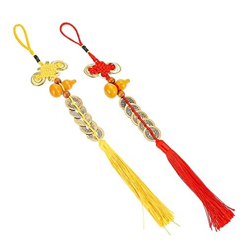 BESPORTBLE 2 Piezas Chino Nudo Borla Moneda Calabaza Ornamento Hu Lu Calabaza Feng Shui Protección de La Suerte Coche Colgante Adorno Amarillo Rojo Chino Feng Shui Colgantes para La