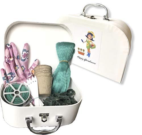 The Happy Gardener Koffer: Die beste Gartengeschenkidee für Frauen und jeden Anlass. Ideal zum Graben von Unkraut-Säften, Stopfen, Rosenscheren – Geschenk für Muttertag und Geburtstage