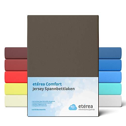 etérea Comfort Jersey Spannbettlaken 90x 200 bis 100x200cm - Weiches Spannbetttuch aus 100% Baumwolle, Bettlaken mit ca. 25 cm Steghöhe und 140 g/m², Braun