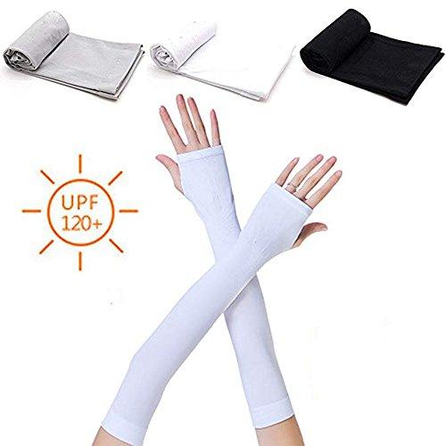 Linwnil 3 Paare Unisex Sommer UV Sonne Schützen Lange Arme Ärmel Hand Abdeckung Arm Abdeckung für alle Outdoor Sport Schutz für die Haut (3 Paar with Hand Cover)
