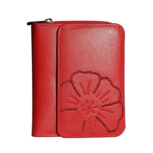 Branco Leder - sehr feine Leder Damen Geldbörse, Portemonnaie, Ladys Wallet mit aufgesticktem Blumen Motiv verfügbar - präsentiert von ZMOKA® (Rot)