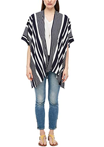 s.Oliver RED Label Damen Zarter Viskose-Poncho mit Streifen Eclipse Blue Stripes 1