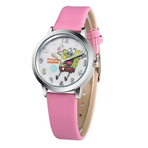 WZLDP Spongebob Abbildung Karikatur-Kind-Uhr-Mode-Pu-Quarz-Sport-Uhr-Bunte (Color : Pink)