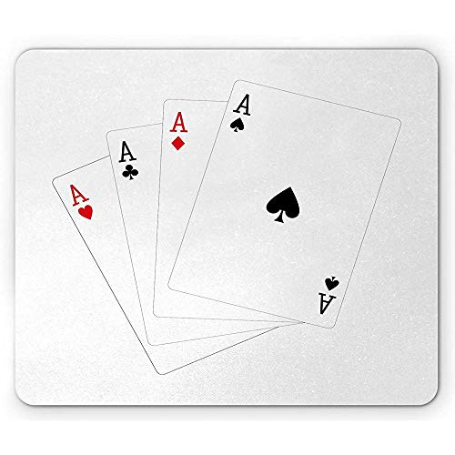 Ace of Diamonds Mouse Pad, Kartenspiele Kartenspiele Hearts Diamonds Simplistic Illustraiton Mousepad, Schwarz und Zinnoberrot