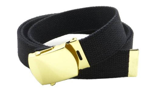 """Canvas Web Belt Military Style with Brass Buckle and Tip 54"""" Long Many Colors (Black)"""