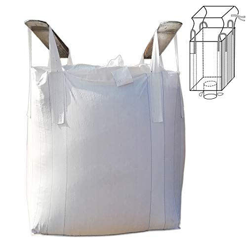 Jumbulk Duffle Top Spout Bottom FIBC Bulk Bag, 1 One Ton Bag, 35'L x 35'W x 43'H, 225 Gallons, 2200lbs SWL, Woven Polypropylene Bags (1)