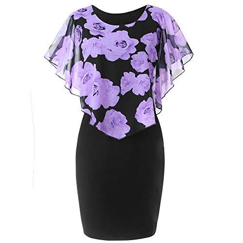 KIMODO Damen Kleider Rose Drucken Rüschen O-Ansatz Frauen Kleider Chiffon Minikleid Übergröße Partykleid Beiläufig Abendkleid Sommerkleid Mode