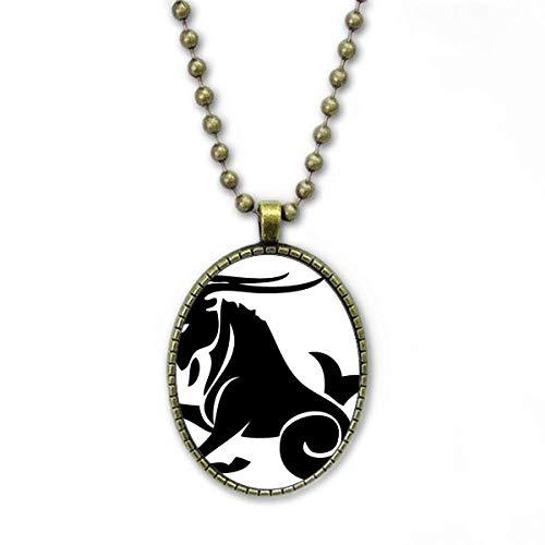 Constelación Capricornio Signo del zodiaco Collar de cadena vintage con colgante de cuentas de la colección de joyas