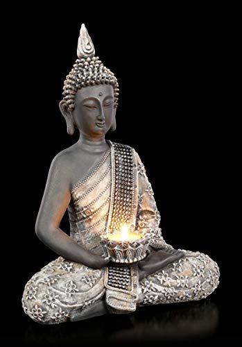 Figuren Shop GmbH Buddha-Figur mit Teelichthalter - Licht der Erkenntnis | Deko-Figur, handbemalt, inkl. Geschenkbox, H 31 cm