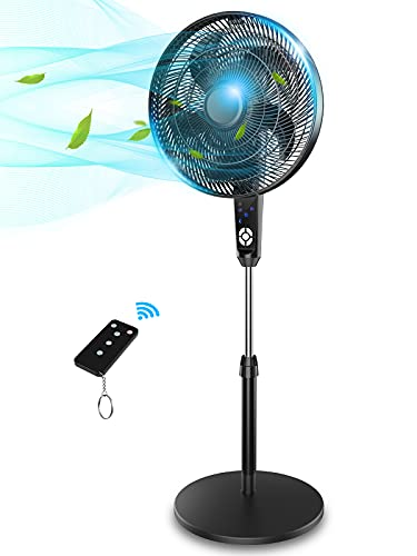 16''Pedestal Fan, 330°Oscillating Standing Fan With Two Fan Types, 5-Blade Floor Fan With Remote Control & Led Digital Display, Ideal For Bedroom Office Living Room,Black