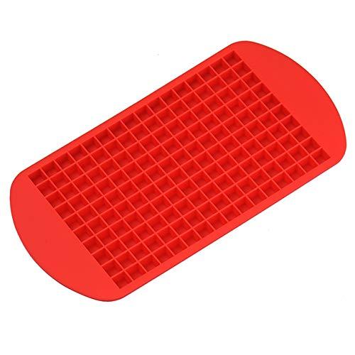 2 Stück Eiswürfelform 160 Gitter, Mini Eiswürfelformen Silikon Küche Bar Puddding Form klein Eiswürfel Werkzeug, Ice Cube Tray zum Einfrieren von Wasser, für Bier Cocktails Whisky Rot