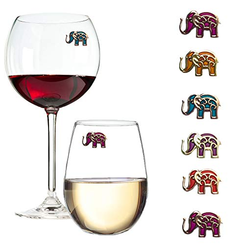 Süße Magnetische Elefant Weinglas Charms – 6 Stück Magnete ideal für stiellose Weingläser