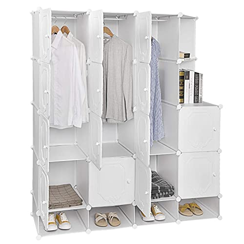 Dirgee Folding Closet, Portable Wardrobe Clothes Organizer Armoire for Small Space, Storage Shelves Modular Cabinet DIY Interlocking With Hanging Rod