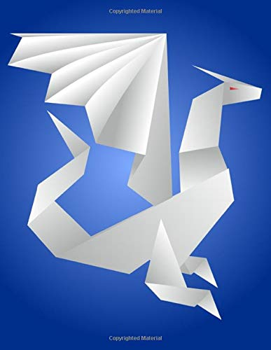 """Origami Dragon Notebook: Blue, College Ruled, 130 pages, 8.5 x 11"""""""