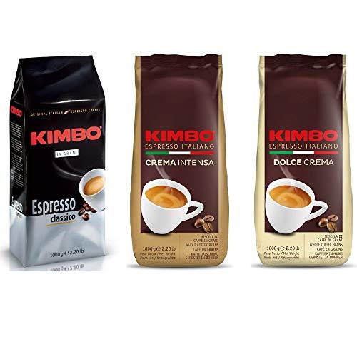 Kimbo ganze Kaffeebohnen Set mit 1 x Espresso Classico, 1 x Crema Intensa und 1 x Dolce Crema, drei 1kg Beutel