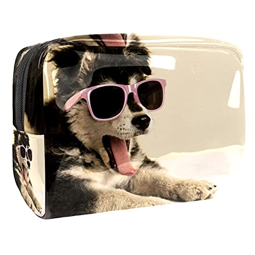 Bolsa de Cosméticos Lindas Gafas de Sol de Perrito Bolsa de Maquillaje Bolso Cosmetico Multipropósito con Cierre de Cremallera, Viajes Organizador 18.5x7.5x13cm