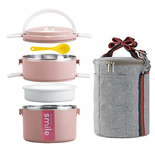 YBOBK HOME Bento Box, Stainless Steel Insulated Microwave Safe Stackable Bento Lunch Box Container with Bag and Spoon for Adults (Pink)