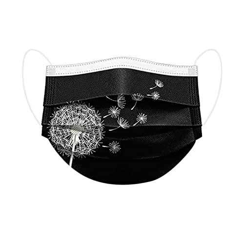50Stück Erwachsene Mundschutz Einweg Bedruckt 3 lagig Mund-Nasenschutz Löwenzahn Drucken Halstuch Masken Mundmasken Atmungsaktiv Mund-Nasen-Schutz Multifunktionstuch (A)