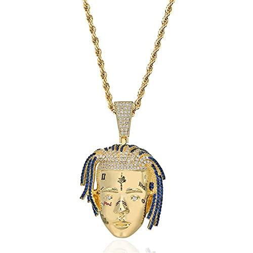 OMKMNOE XXXTETACION Ice out out Cadena, Collar de Oro Unisex de Oro 18ct con Colgante, Diamantes de imitación, circonia cúbica, Cadena para Mujeres Damas,Oro