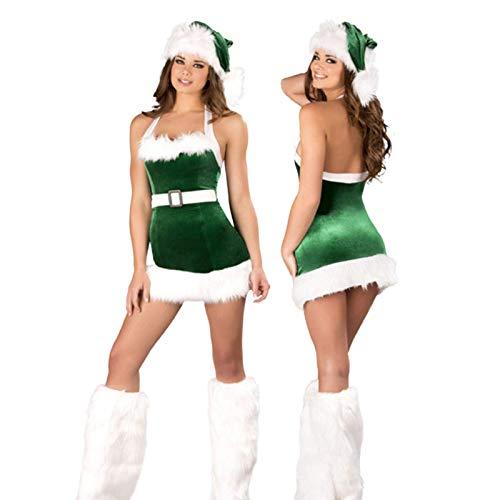 Frauen Weihnachtskostüm, Erwachsene Frauen Weihnachtsmann Santa Camisole Kleid mit Hut Beinwärmer, Weihnachten Cosplay Performance Kleidung Sexy Mini Rock Kleid, Party Masquerade Fancy Dress Outfit li