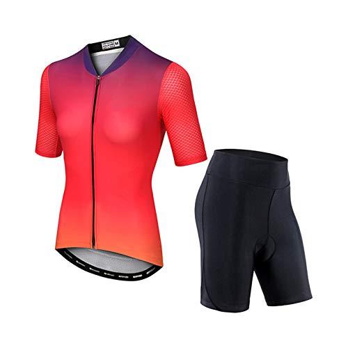 YFFS Conjunto De Maillot De Ciclismo Conjunto De Manga Corta para Bicicleta Camisa Transpirable De Secado Rápido + Pantalones con Babero Acolchado De Gel 3D Ropa (2,2XL)